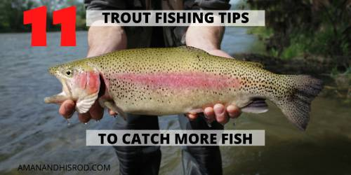 man holding trout in a river